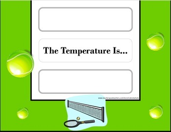 Tennis Weather Chart! Tennis Bulletin Board! Tennis Sports Theme! Sports Decor!