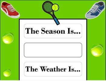 Tennis Weather Chart! Tennis Bulletin Board! Tennis Sports