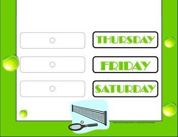 Tennis Weekday Chart! Tennis Bulletin Board! Tennis Theme! Tennis Calendar!
