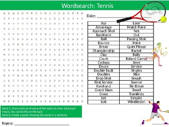 Tennis Wordsearch Puzzle Sheet Keywords Physical Education Sports