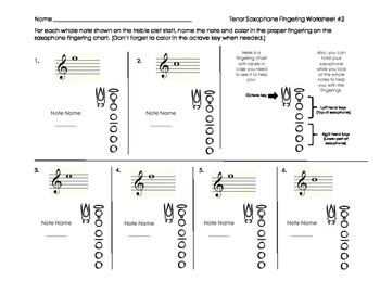 Tenor Saxophone Fingering Worksheet 2 for Band Beginners