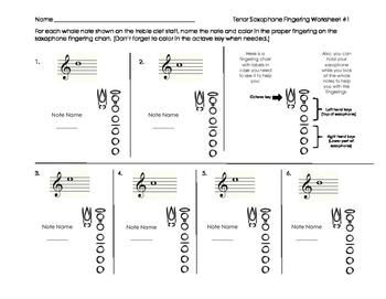Tenor Saxophone Fingering Worksheet for Band Beginners