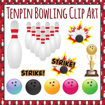 Tenpin Bowling Clip Art Set for Commercial Use