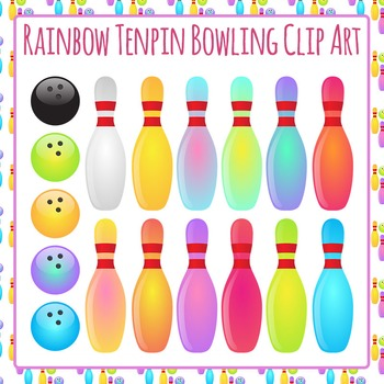 Tenpin Bowling Rainbow Colors Clip Art Set for Commercial Use