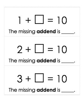 Tens Facts- missing addends and sums cards