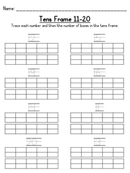 Tens Frame 1-10 and 11-20