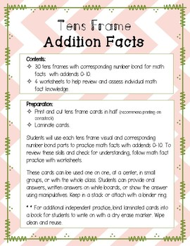 Tens Frame Addition Facts Vol2