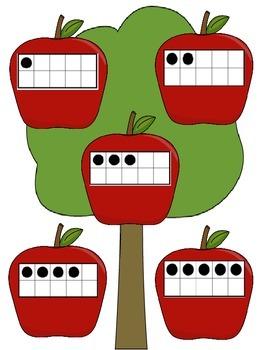 Tens Frame Apple Pickin' File Folder Game