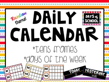 Tens Frame Calendar Companion (Days in School)