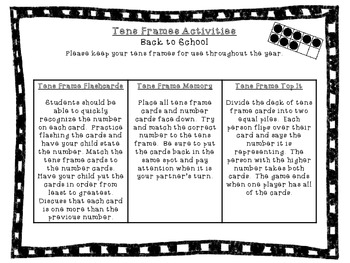 Tens Frame Cards and Homework Activities