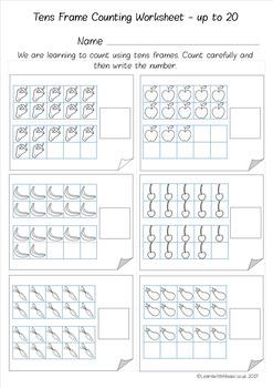 Tens Frame Worksheet Bundle - count to 10 or 20