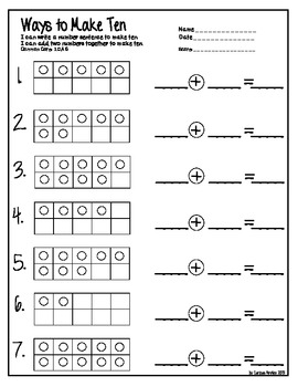 Tens Frame Equations and Missing Numbers by Emily Hutchison | TpT