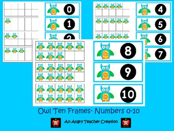 Tens Frame Flash Cards or Matching Game Cards With Numbers 0-10 Owl Theme