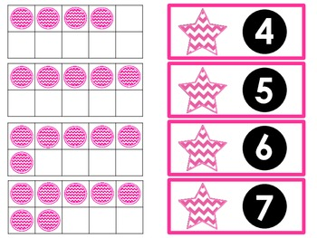 Tens Frame Flash Cards or Matching Game Cards With Numbers 0-10 Pink Chevron