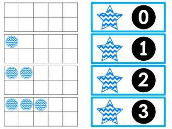 Tens Frame Flash Cards or Matching Game Cards With Numbers 0-20 Aqua Chevron