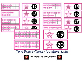 Tens Frame Flash Cards or Matching Game Cards With Numbers 11-20 Pink Chevron