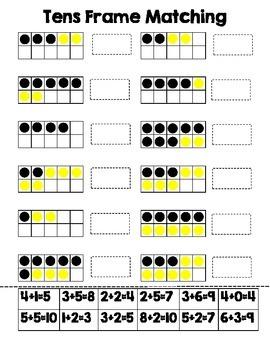 Tens Frame Matching Worksheet
