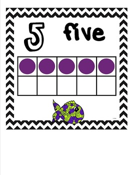 Ten Frame Math Wall Cards 0-20 {Fish Theme} Includes Number Words to Twenty