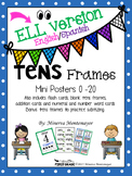 Tens Frame Mini Posters 0-20 - ELL (English/Spanish)