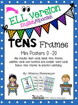 Tens Frame Mini Posters 0-20 - ELL (English/Spanish)