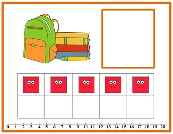 Tens Frame Number Match 0-20 Math Center - Back to School Theme