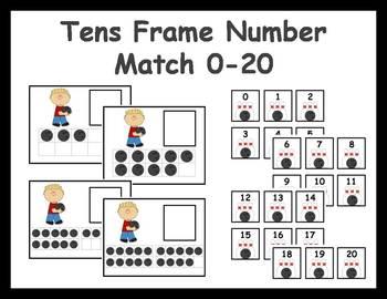 Tens Frame Number Match 0-20 Math Center - Bowling Theme