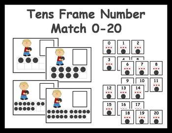 Tens Frame Number Match 0-20 Math Center - Bowling Theme