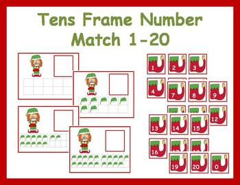 Tens Frame Number Match 0-20 Math Center - Christmas Elf
