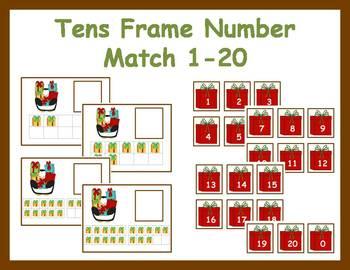 Tens Frame Number Match 0-20 Math Center - Christmas Gifts