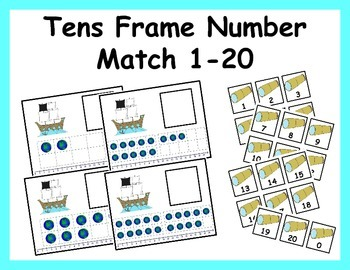 Tens Frame Number Match 0-20 Math Center - Christopher Columbus