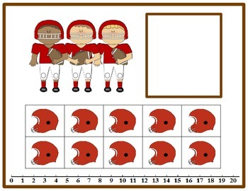 Tens Frame Number Match 0-20 Math Center - Football Theme