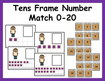 Tens Frame Number Match 0-20 Math Center - Peanut Butter and Jelly!