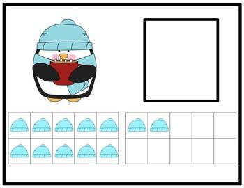 Tens Frame Number Match 0-20 Math Center - Penguin