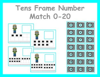 Tens Frame Number Match 0-20 Math Center - Photo/Photography