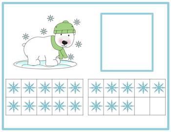 Tens Frame Number Match 0-20 Math Center - Polar Bear
