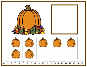Tens Frame Number Match 0-20 Math Center - Pumpkin Theme