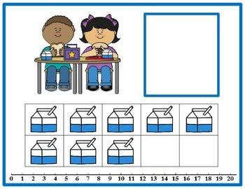 Tens Frame Number Match 0-20 Math Center - School Lunch Theme