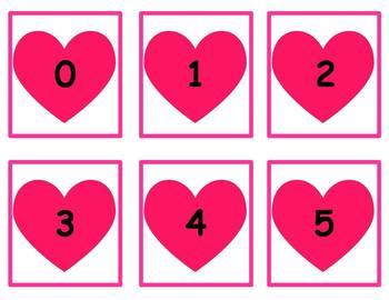 Tens Frame Number Match 0-20 Math Center - Valentine Bees