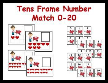 Tens Frame Number Match 0-20 Math Center - Valentine Hearts