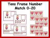Tens Frame Number Match 0-20 Math Center - Valentine's Day Theme