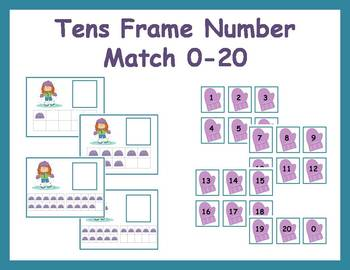Tens Frame Number Match 0-20 Math Center - Winter Clothing