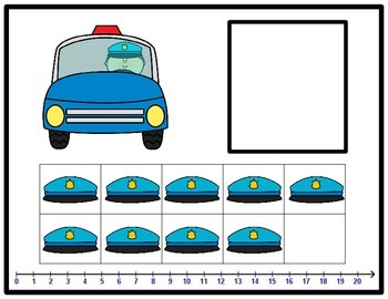 Tens Frame Number Match 0-20 Math Center - police officer