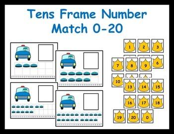 Tens Frame Number Match 0-20 Math Center - police officer