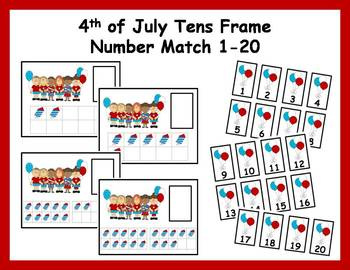 Tens Frame Number Match 1-20 Math Center - 4th of July
