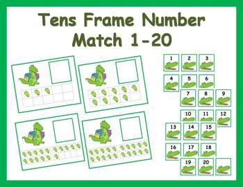 Tens Frame Number Match 1-20 Math Center - Alligator Theme