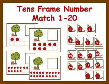 Tens Frame Number Match 1-20 Math Center - Apple Theme