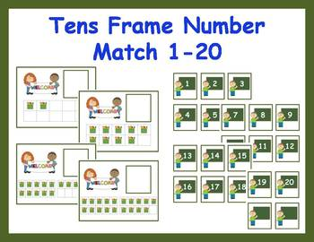 Tens Frame Number Match 1-20 Math Center - Back to School