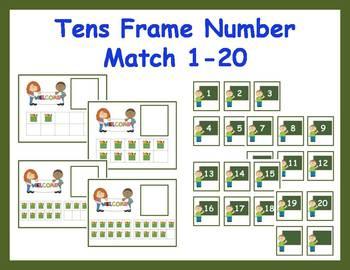 Tens Frame Number Match 1-20 Math Center - Back to School
