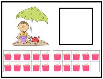 Tens Frame Number Match 1-20 Math Center - Beach Theme