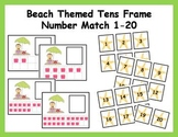Tens Frame Number Match 1-20 Math Center - Beach Theme